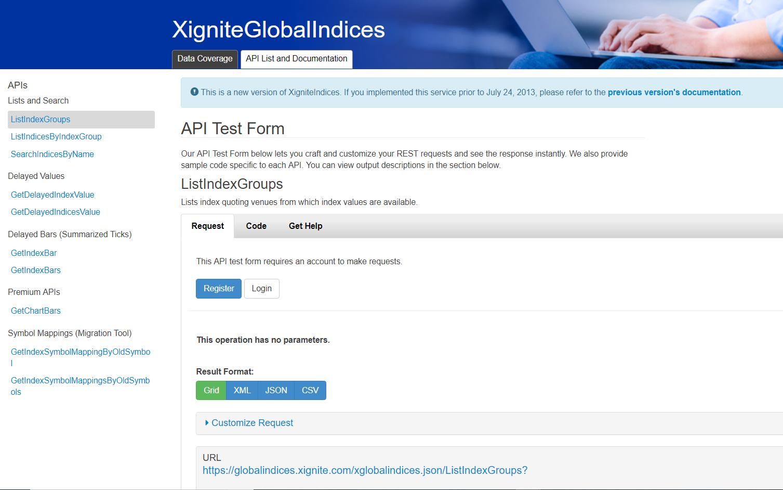 Free Trial | Indices API | Xignite