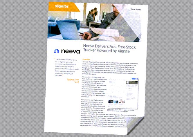 Neeva ad-free stock widget powered by Xignite